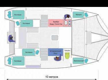 Схема внутренних помещений на катамаране Каприччио - Yachts.ua