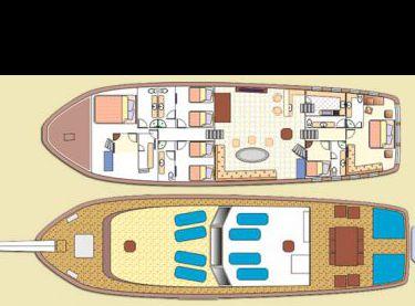Схема верхней и нижней палубы на яхте Роял Марис - Yachts.ua