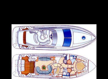 Схема верхней и нижней палубы яхты Азимут 46 - Yachts.ua