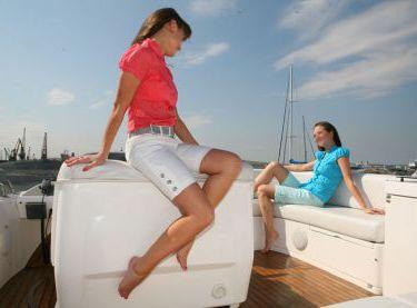 Девушки отдыхают на флайбридже яхты Sealine F42/5 - Yachts.ua