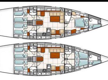 Схема внутренних помещений парусной яхты Hanse 540 - Yachts.ua