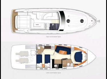 Схема кокпита и салона моторной яхты Princess V42 - Yachts.ua