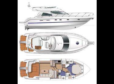 План схема моторной VIP яхты Кранчи 40 - Yachts.ua